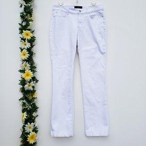 Ann Taylor Contour Slim Leg White Denim Jeans 6